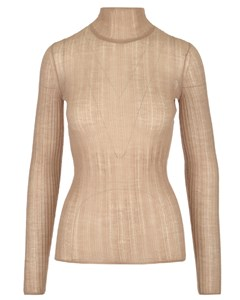 Sheer Knitted Ribbed Top Pink