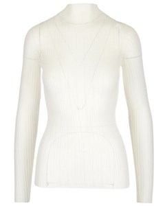Sheer Knitted Ribbed Top Beige