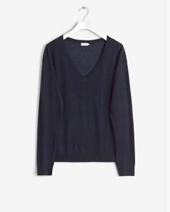 Merino V-neck Pullover Navy