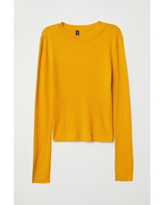 Rachel Rib Knit Top Yellow