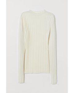 Prin Rib Knit Sweater White