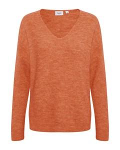 Knit W. V-neck Ls Orangeade Melange