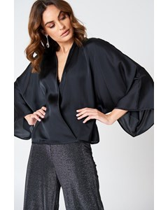 Kimono Overlapped Blouse  Black