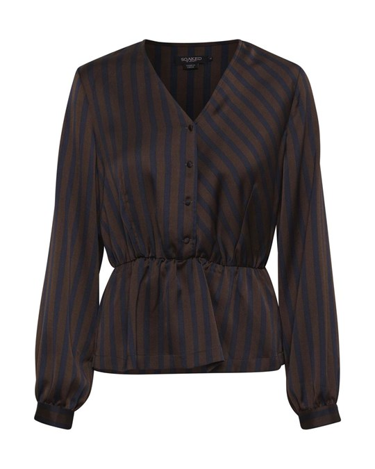 Soaked in Luxury Sx Gina Striped Blouse Coffee Bean & Night Sky Stripe