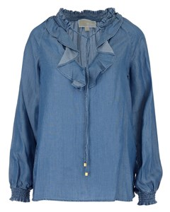 Long Sleeve Top With Ruffle Blue