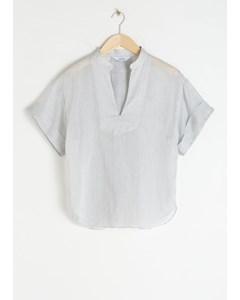 Bibi Baumwollseidenmischung Bluse mit V-Ausschnitt Weiß