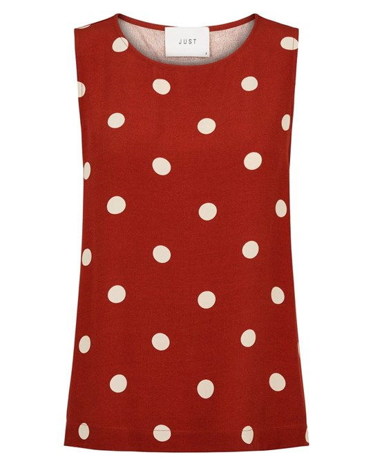 Caia Top Red Polka Dot - Sleeveless, loose fit top in a printed fabric. Shrinkage up to 5%.