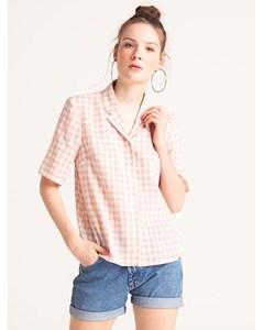Agynes Gingham Bowling Shirt Pink