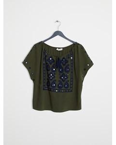 Drawstring Neck Embroidered Blouse  Dark Olive Green