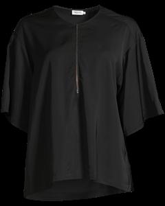 Paige Square Draped Shirt Black