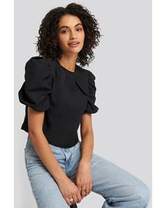 Puff Shoulder Short Sleeve Blouse Black