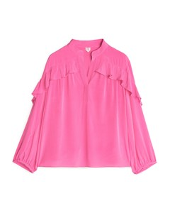 High-neck Frill Blouse Pink