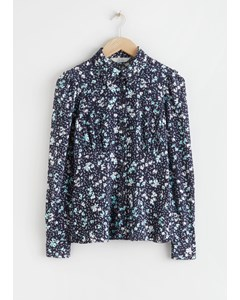 Floral Crepe Fitted Blouse Navy