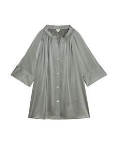 Short-sleeve Satin Blouse Grey