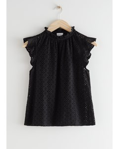 Frilled Broderie Anglaise Blouse Black
