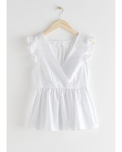 Frilled Embroidery Top White
