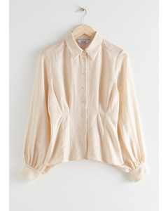 Button Up Wide Sleeve Shirt Creme
