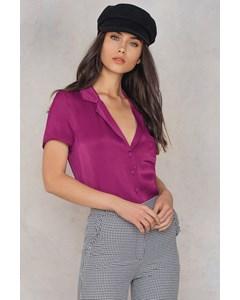 Short Sleeve Satin Shirt Dark Purple