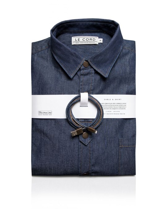 Le cord Denim Matching Cable & Shirt