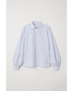 Balloon-sleeved Shirt Blue
