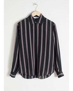 Zijden Gestreept Lounge Shirt Zwart