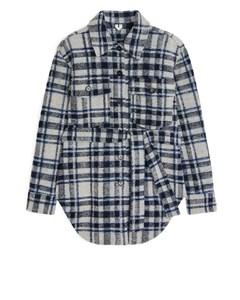 Wool Blend Belted Overshirt Grey