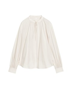 Keyhole-detail Cupro Blouse Off-white