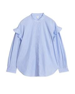 Oversized Poplin Frill Shirt White/blue
