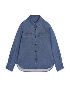Organic Cotton Denim Overshirt Blue
