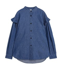 Oversized Frill Shirt Medium Blue