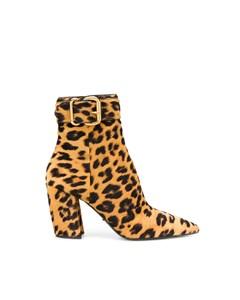 Prada Leopard Print Ankle Boots Brown