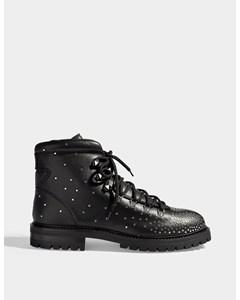 Dewstuds Lace Up Combat Boots In Black And Platinum Studded Calfskin Black/platinum