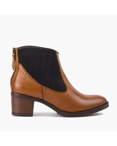 Ladies Tan Elastic Panel Ankle Boot