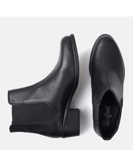 Redfoot Shoes Ladies Black Plain Chelsea Boot