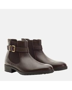 Ladies Brown Buckle Chelsea Boot