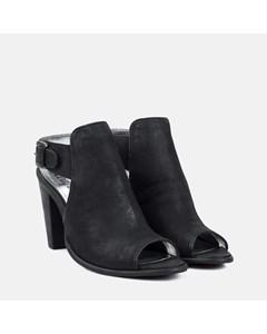 Ladies Black Peep Toe Heeled Sandal