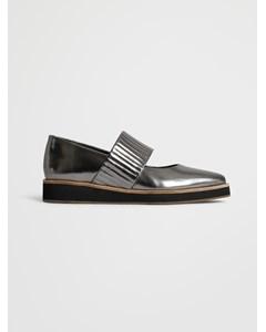 Ribbed Shoe  Nappa Silver