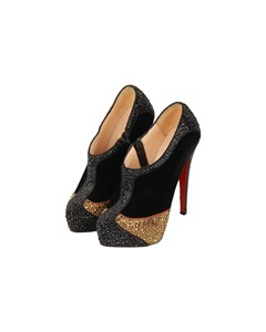 Christian Louboutin Black Velvet Laelia Strass 140 Ankle Boots Size 36
