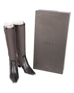 Gucci Taupe Fabric Heeled Boots With Leather Toes Size 37