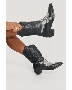 Reptile Detailed Cowboy Boots Black Snake/black