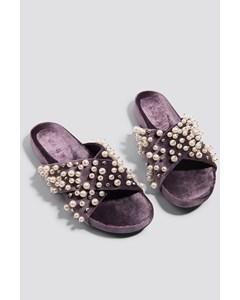 Beaded Velvet Slippers Purple