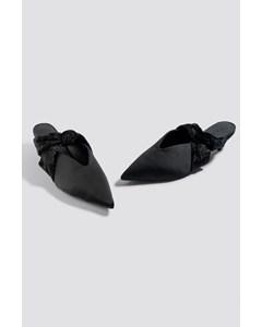 Velvet Knotted Satin Flats Black