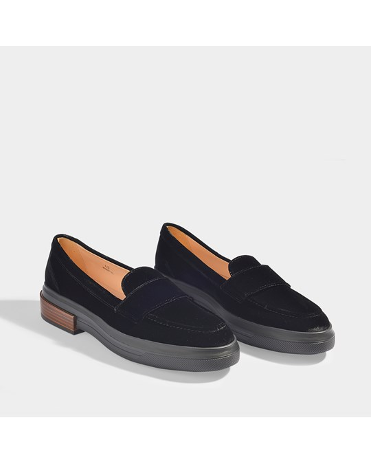 Tod's Moccasins With Chunky Rubber Sole In Black Velvet Black