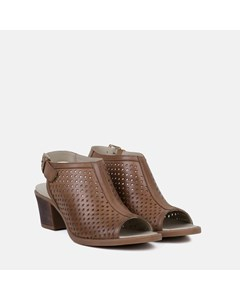 Ladies Tan Perforated Leather Heeled Sandal