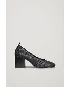 Braided Leather Heels Black