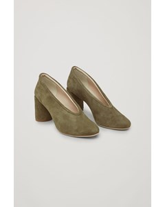 Suede Heels With Padded Trim Green