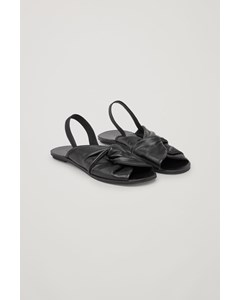 Knotted Leather Sandals Black