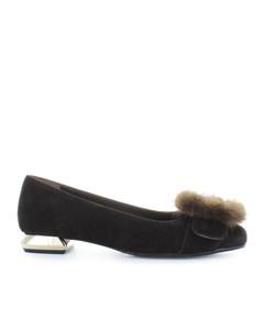 Nicole Bonnet Brown Suede Ballet Shoes