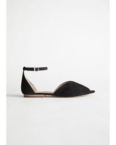 Suede Ankle Strap Ballerina Flats Black