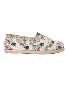 Canvas Espadrilles With Rope Detail Classic Print Cheeta White